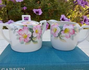 Noritake Azalea Cream and Sugar Set - Pink Flowers - Oak Hill Vintage