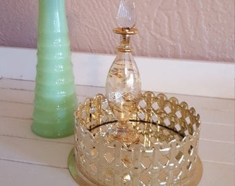 Small Round Filigree Vanity Tray - Candle Holder - USA - Metal Glow - Oak Hill Vintage
