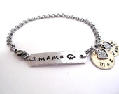 Mama Bear Jewelry, Mama Bear Bracelet, Momma Bear Jewelry, Name Bracelet, Mommy Jewelry, Stainless Steel Bracelet, 1+ discs