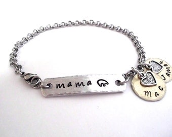 SUPER SALE Mama Bear Jewelry, Mama Bear Bracelet, Name Bracelet, Mommy Jewelry, Stainless Steel Bracelet, 1+ discs