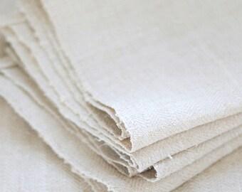 VINTAGE European Hemp Hand Towel - Nubby Grain Sack Texture - HERRINGBONE WEAVE