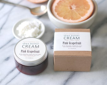 PINK GRAPEFRUIT Shea Butter Cream - with pure essential oils + organic shea butter - paraben free - 4.5 ounces