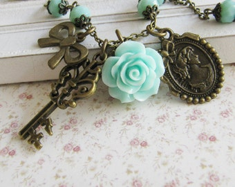 Blue flower charm necklace, vintage style jewelry, bronze, gift for her, romantic, floral, Europe
