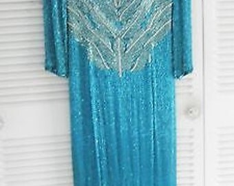 Vintage Lillie Rubin beaded evening gown, pageant gown, costume, formal
