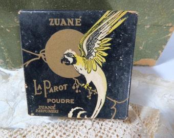 Art Deco Zuane La Parot Face Powder Box - Parrot Graphic - Vanity Collectible NOS