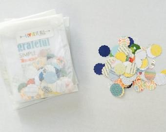 Paper Confetti . Scallop Shape Paper Die Cuts . Book Cardstock Notebook Paper Scrapbooking Papercrafting . Collage Art Ephemera