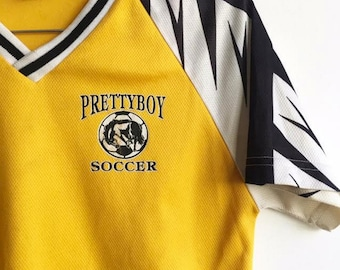"SALE Vintage ""Prettyboy"" Soccer Jersey / Yellow, Black and White Sports Shirt / V Neck / Extra Small"