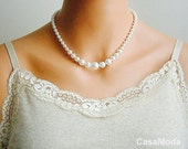 Pearl Necklace Bridal Pearl Necklace Vintage Style In White Swarovski Crystal Pearls