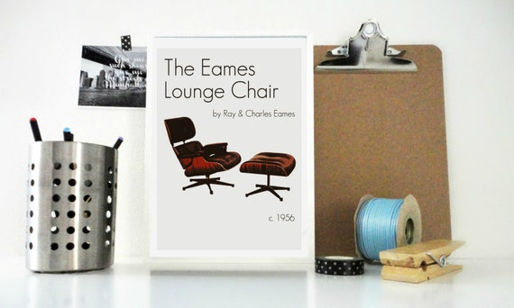 Art Print Poster The Eames Lounge Chair by Ray and Charles Eames Design Furniture Print Minimal Home Decor Wall Art Office Vintage Decor