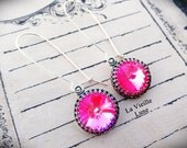 Hot Pink Crystal Earrings, Pink Jewel Victorian Earrings, Victorian Jewelry, Gothic Jewelry