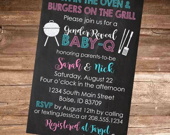 CHALKBOARD BABY Q Gender Reveal - Baby Girl/Boy/Pink/Blue Coed BBQ - Baby Shower Invitation - 4x6 or 5x7 Digital File