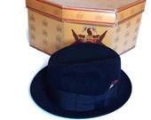 Vintage Knox Custom Fedora Knox New York Quality Black Fur Felt Hat Size 7 Classic 1950's Fedora in Original Knox Hat Box, Hipster Style