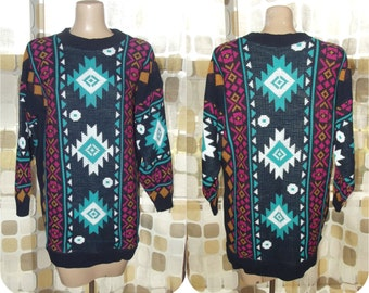 Vintage 80s Sweater | 1980s Tunic Sweater | Aztec Southwest Print |  Long Knit Sweater Dress | By Clifton Place | Size 16 XL