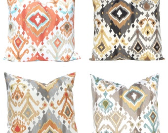 Ikat Pillow Covers - Four Colors to Choose From - Throw Pillow Covers - Orange Pillow Covers - Decorative Pillows - Black Pillow Covers