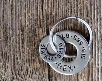 Pet Tag - Dog Tag - Two rings -  Hand stamped by Rawkette