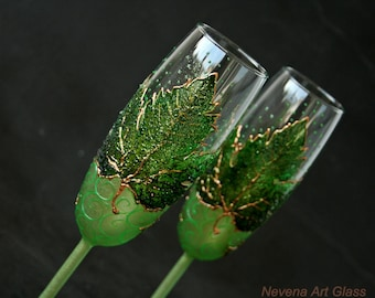 Summer Wedding Glasses, Champagne Glasses, Forest Wedding, Maple Leaves Glasses, Green Glasses, Hand Painted Set of 2