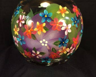 Hand Painted Glass Candle Bowl - Island Purple - Rainbow Posies