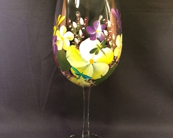 Hand Painted Wine Glass - Spring Garden Yellow with Dragonflies