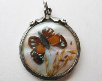 Antique Victorian Sterling Silver Butterfly Wings Necklace Pendant