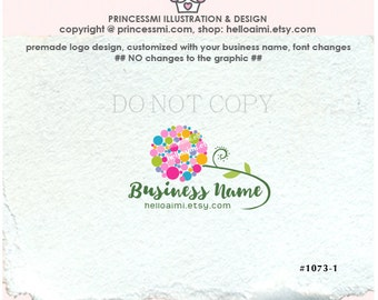 1073-1 floral logo, Premade Logo Design, dot circle, floral illustration, photography business boutique, shop logo