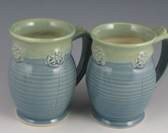 Coffee or Tea Mug in soft blue and green, K cup