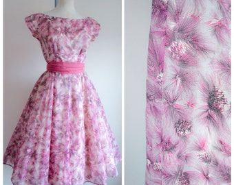 1950s Pink novelty print pine cone party dress / 50s organdy with sash belt, Wendy label - S