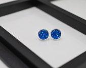 Blue Druzy Earrings, Blue Druzy Studs, Druzy Stud Earrings, Blue Stud Earrings, Faux Druzy Earrings, 12mm Stud Earrings, Faux Plugs