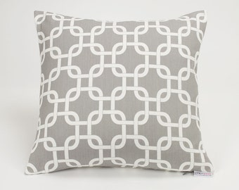 Storm Gray Modern Chain Link Throw Pillow Cover - 16 inch