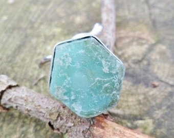 Rough Emerald Ring. Handmade Ring. Emerald And Sterling Silver Ring. Adjustable Ring. Mineral Ring. Raw Emerald Ring. Rough Stone.