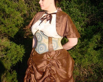 Multi-look Adjustable Corset-laced Silk Steampunk Skirt Set