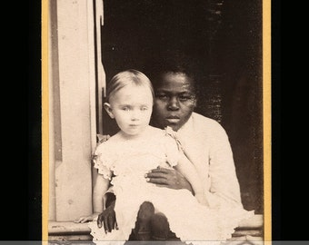 Antique CDV Photo Little White Child with Black Nanny - Great Affectionate Pose