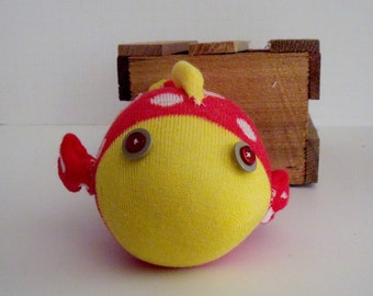 Sock Fish made from Red and White Polka Dotted Sock with Yellow Trim and Beige and Red Button Eyes, Adorable Red Yellow and White Sock Fish