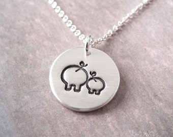 Small Mother and Baby Pig Necklace, Mom and Piglet, New Mom Jewelry, Fine Silver, Sterling Silver Chain, Made To Order