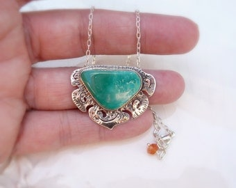 "Turquoise Alpinia Necklace - Rare Nevada ""Blue Gem"" Turquoise pendant, .925 Sterling Silver, 14k Gold, Carnelian orange charm, gift, chain"