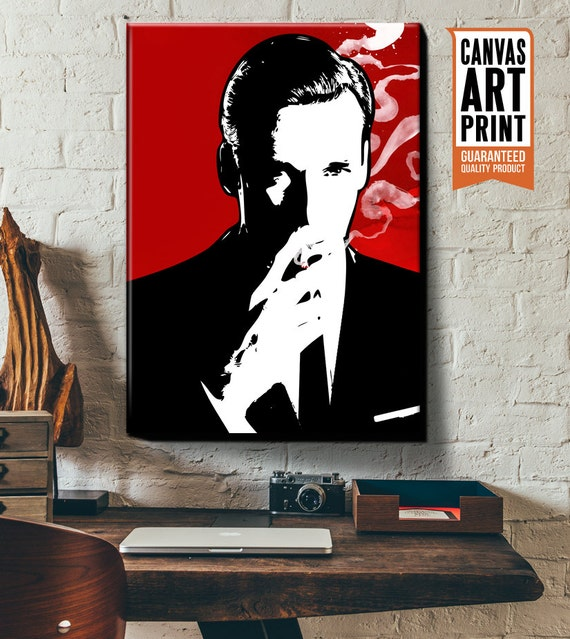 Mad Men Don Draper Fan art illustration, Canvas Art Print, Pop Art style, celebrity portrait, Mad Men Art Print, Poster size art