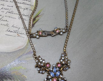 Blue & Pink Pastel Pendant Necklace and Earring Set