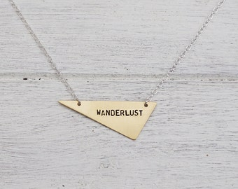 Wanderlust Brass or Sterling Silver Triangle Necklace - Can Be Personalised