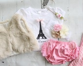Holiday Paris Outfit! Eiffel Tower Tee, Diaper Cover, Fur Vest, Rose Leg Warmers, Headband Baby Girl, Big Sister Little Sister Matching Gift