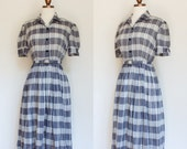 1950s gray and ivory plaid shirtdress / 50s sheer patterned shirtwaist day dress / S