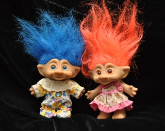 2 Vintage Troll Dolls/90's Wishstone Treasure Troll/Jewel Belly/Set of Two Toys/Ace Novelty Co/Orange & Blue Hair Pair/Childhood Collectible