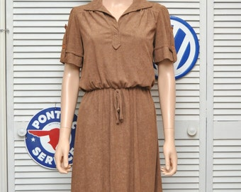 Vintage 70s Womens Terry Dress/Hazelnut Brown/Autumn color/Medium Small/short sleeve elastic waist/Theater Costume/Faux button sleeve/v-neck