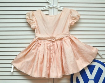 Vintage Girls Dress/50s 60s/Full Circle Skirt/Apricot Peach/Toddler/Distressed As is/Costume Theater/Antique Bridal Flower Wedding/12-18 M