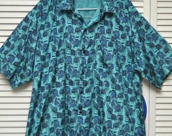 Vintage Mens Dress Shirt/Short Sleeve/Thai Silk/Large XL/Elephant Print on Shimmery Turquoise Raw Silk/Large/Siew Chang Huat/60s 70s/Atomic