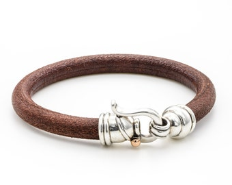 LEATHER HANDMADE BRACELET / Bracelet Brown Leather /  Bracelet leather Cord / 925 Silver clasps/ Men's leather Bracelet / handmade jewelry