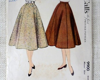 McCall's 9900 Vintage Sewing Pattern Skirt 1950 skirt Waist 26 Gored rockabilly