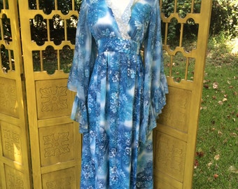70s maxi dress with angel wing sleeves, cosmic blue floral print, S, M