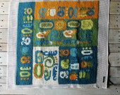 Vintage Needlepoint Pillow Cover Panel / Wallhaning
