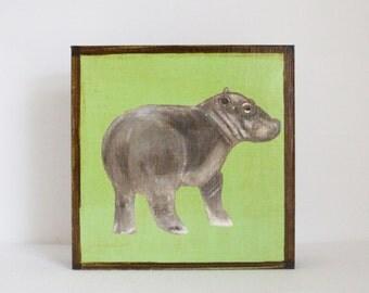 jungle nursery decor, safari nursery art, hippo art print, animal print, safari decor, jungle art, gender neutral baby, redtilestudio