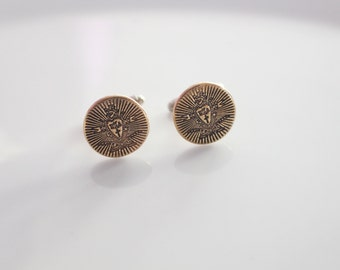 Pi Kappa Alpha Cufflinks in Bronze / PIKE Fraternity Crest Cufflink in Goldtone // Greek License Fraternity Menswear // PIKE Crest