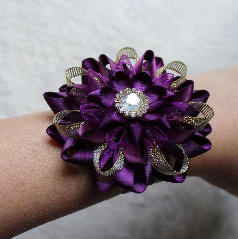 Purple Wedding Flowers And Gold Corsage Wrist Dark Bridesmaid Aubergine Eggplant